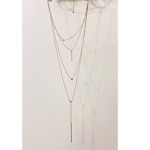 Long Layered Pendant Necklace. Gold